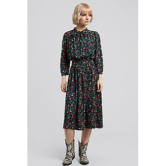 Louche Marva Rose Print Tie Neck Midi Dress