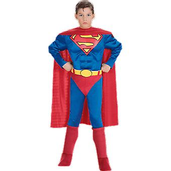 Boys Muscle Chest Superman Superhero Film World Book Day Fancy Dress Costume