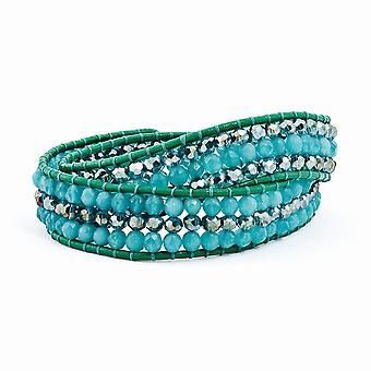 Couro azul Zicron de quartzo e cristal Multi Wrap latão botão pulseira