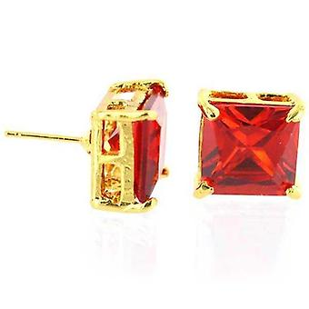 Earrings All Ice Princess Cut Stud Cubic Zirconia Ruby Red 12mm
