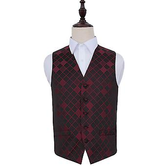 Burgundy Diamond Patterned Wedding Waistcoat