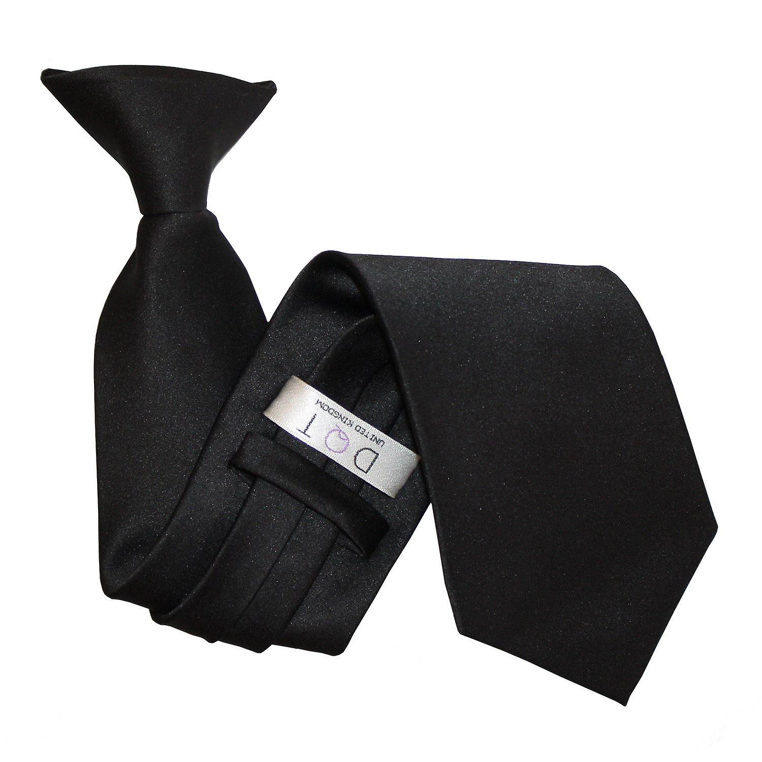 Plain Black Satin Clip On Tie