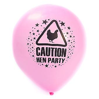 15Pack of Caution Hen Party Balloons Pink 11