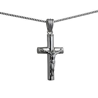 Silver 32x18x4mm handmade Memorial Crucifix Cross with a curb Chain 18 inches