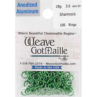 Anodized Aluminum Jumprings 3.5mm 100/Pkg-Green HPA18A35-SHAM