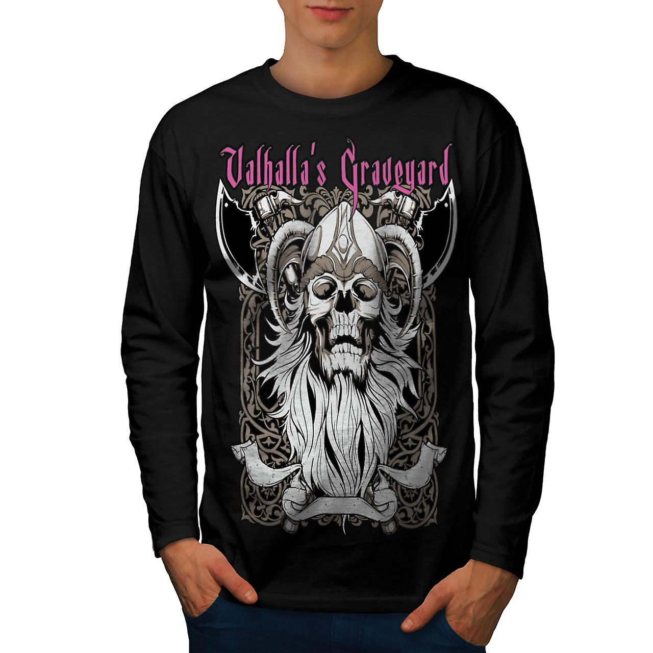 Valhalla Graveyard Men Black Long Sleeve T-shirt | Wellcoda