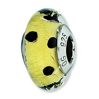 Sterling Silver Antique finish Italian Murano Glass Reflections Gold With Black Dots Italian Murano Bead Charm