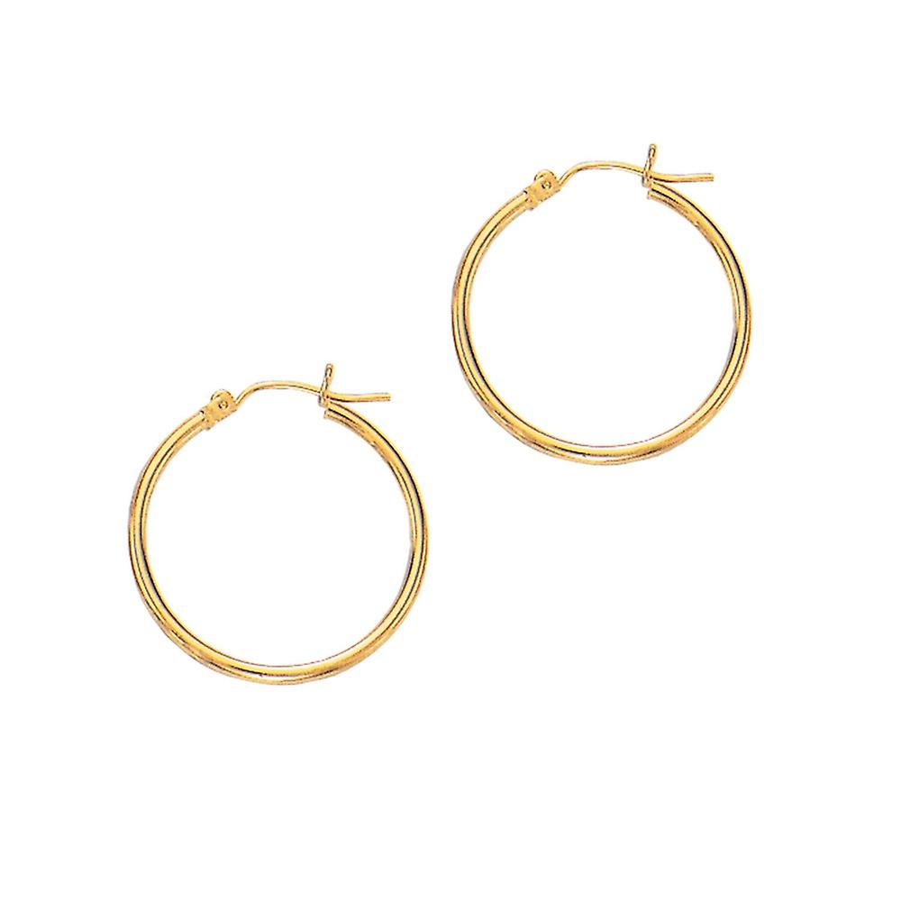 14k jaune or 2x25mm Shiny Round Tube Hoop Fancy Earrings With Hinged Clasp - 1.1 Grams