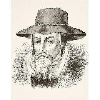 John Foxe 1517 To 1587 English Author Of Foxes Book Of Martyrs From The National And Domestic History Of England By William Aubrey Published London Circa 1890 PosterPrint