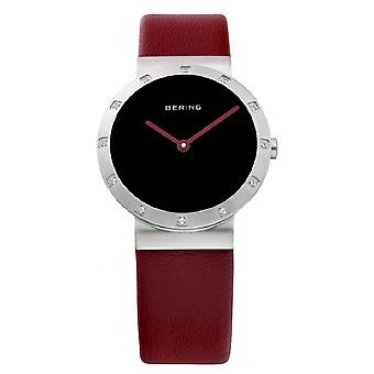Bering ladies slim ceramic - 10629-604 leather wristwatch watch