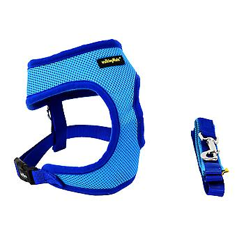 Walking Mate Soft Mesh Harness & Lead Blue 49-66cm