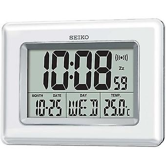 Seiko QHL058W Digital LCD Clock Pearlised - White