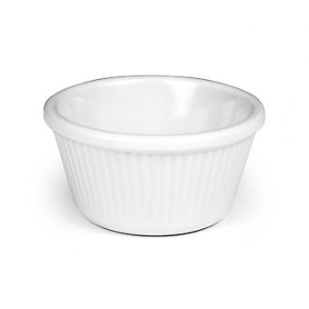 PACK OF 12 MELAMINE RAMEKIN WHITE RIBBED SERVERS 3 Oz KITCHEN DINING