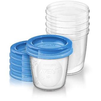 Philips Avent 5 Breast milk containers + 5 Tapas
