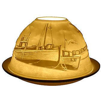 Light-Glow Seaside Lithophane Dome Tealight Candle Holder