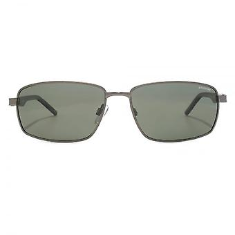 Polaroid Metal Rectangle Sunglasses In Dark Ruthenium Havana Polarised