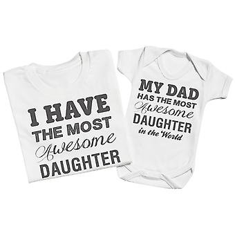 Most Awesome Daughter - Matching Father Baby Gift Set - Grey