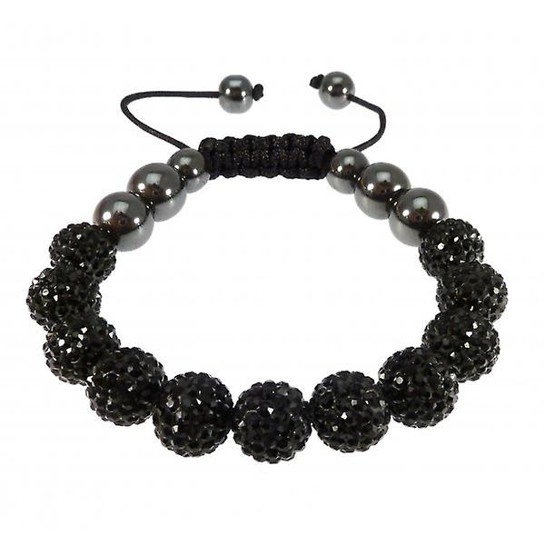 W.A.T Sparkling Black Crystal And Maracrame Glitterball Ball Bracelet