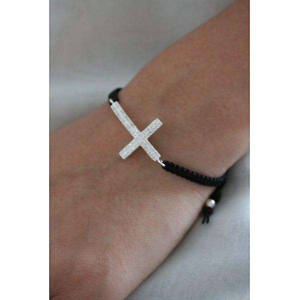 W.A.T 925 Sterling Silver CZ Crystal Cross On Black Macrame Cord