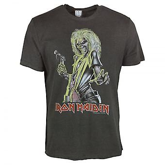 Amplificato Mens Iron Maiden Killers T Shirt Charcoal