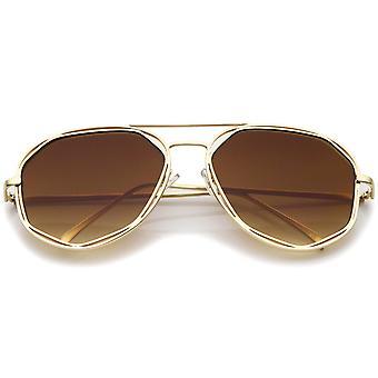 Geometrische sechseckigen Metallrahmen Neutral farbige flache Linse Pilotenbrille 60mm