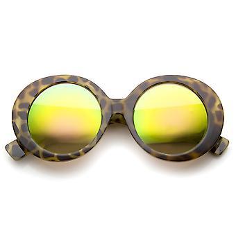 Alta moda grueso color espejo redondo gafas de sol de gran tamaño 50mm