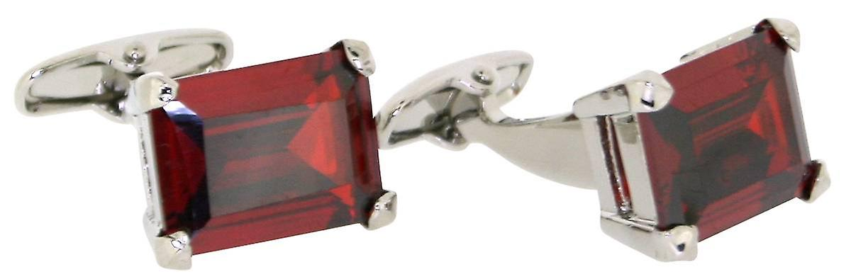 Posh and Dandy Rectangular Crystal Cufflinks - Red