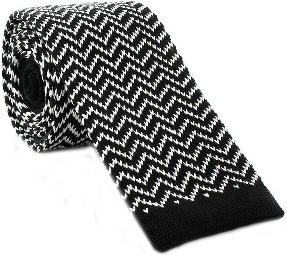 Michelsons of London Zig Zag Silk Knitted Skinny Tie - Black/White