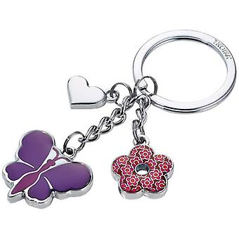 Troika Butterfly Charm Key Ring - Purple/Pink