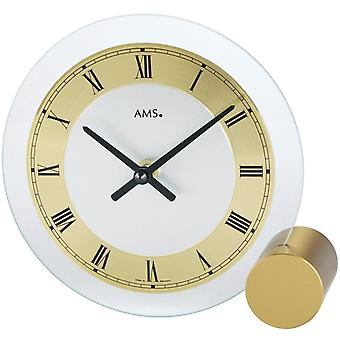AMS table clock quartz of brass painted metal base mineral glass diamond rotated dial