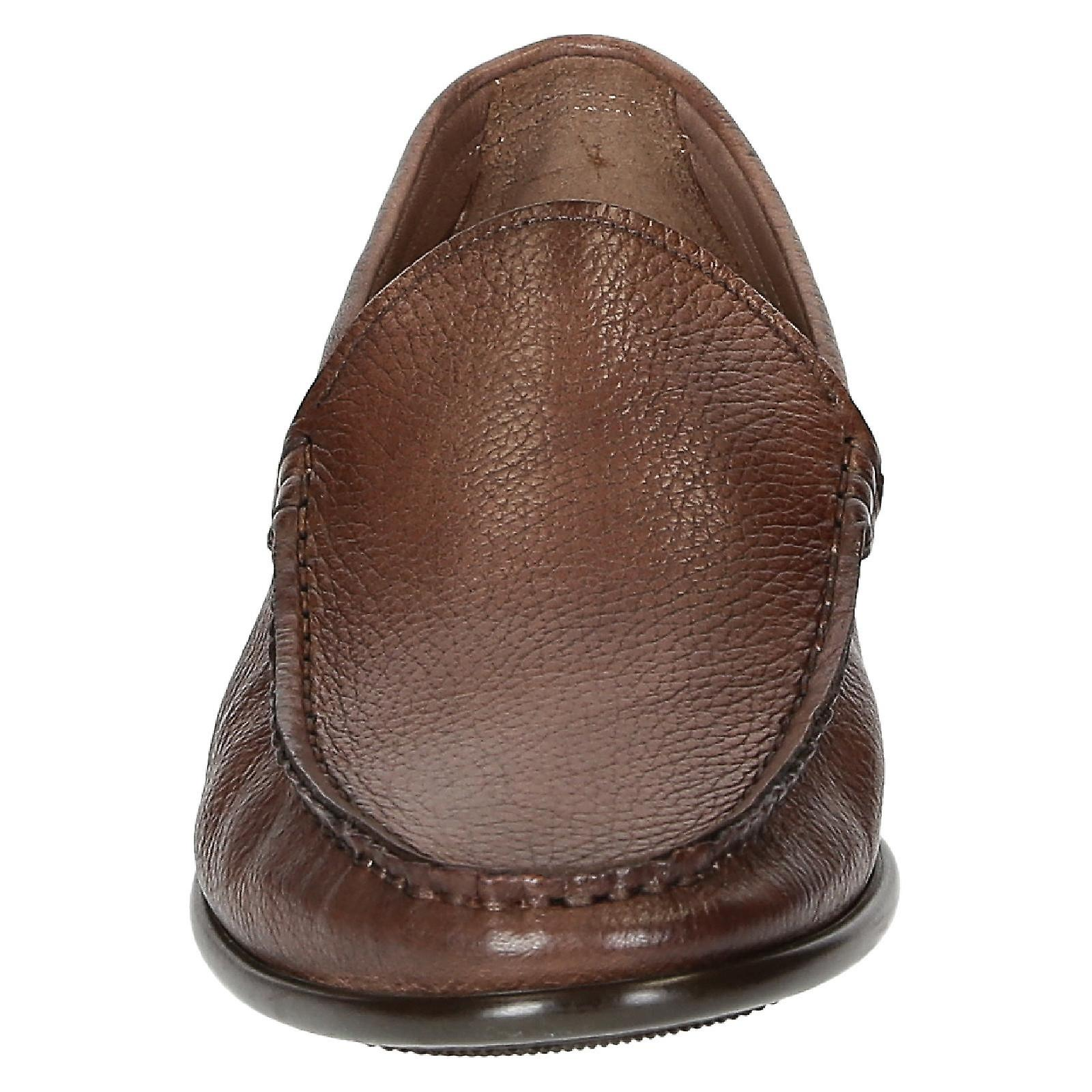 Brandy full grain leather handmade loafers for men