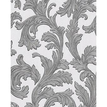 Baroque wallpaper EDEM 1032 10 vinyl wallpaper smooth with ornaments and metallic effect white silver 5.33 m2
