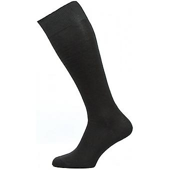 Pantherella Sackville Flat Knit Over the Calf Cotton Lisle Socks - Black