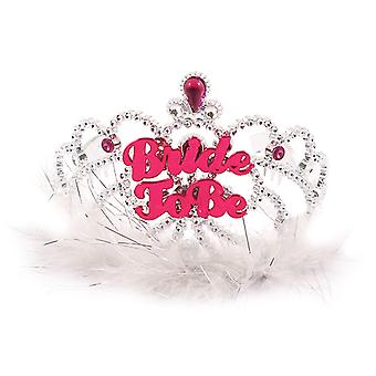 Hen Night Bride To Be Tiara With White Fur Hen Party Accessory