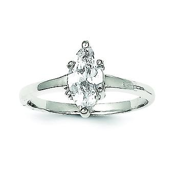 Sterling Silber Solid Poliert Solitaire Marquise Zirkonia Ring - Ring-Größe: 6 bis 8