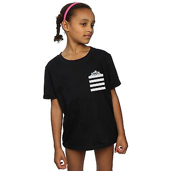 Looney Tunes Girls Taz Stripes Faux Pocket T-Shirt