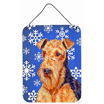 Airedale Winter Snowflakes Holiday Aluminium Metal Wall or Door Hanging Prints