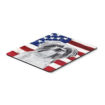 USA American Flag with Shih Tzu Mouse Pad, Hot Pad or Trivet