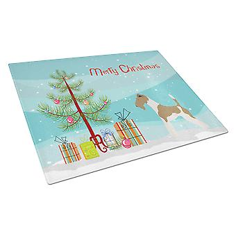 Wire Fox Terrier Christmas Glass Cutting Board Large