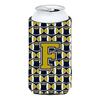 Buchstabe F Fußball blau und Gold großer Junge Getränk Isolator Hugger