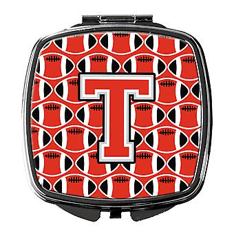 Letter T Football Scarlet and Grey Compact Mirror