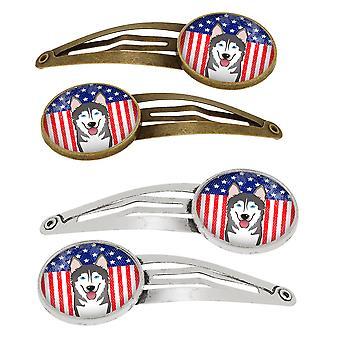 Bandiera americana e Alaskan Malamute Set di 4 clip per capelli Barrettes