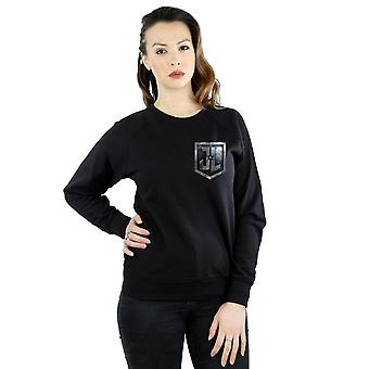 DC Comics kvinnors Justice League film sköld Faux Pocket Sweatshirt