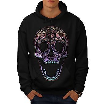Color Skull Men BlackHoodie | Wellcoda