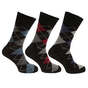 Pierre Roche Mens Argyle Patterned Socks (Pack Of 3)