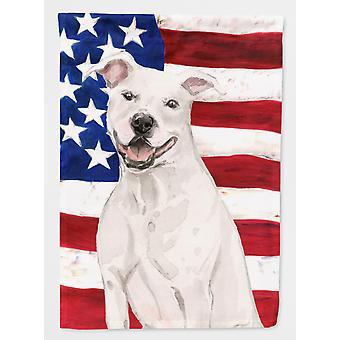 Staffie branco Bull Terrier patriótica bandeira jardim tamanho