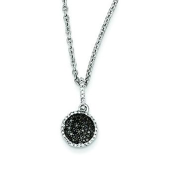 Sterling Silver Prong set Gift Boxed Rhodium-plated Lobster Claw Closure Black and White Diamond Round Pendant