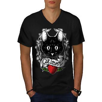 Cat Lover Men BlackV-Neck T-shirt | Wellcoda