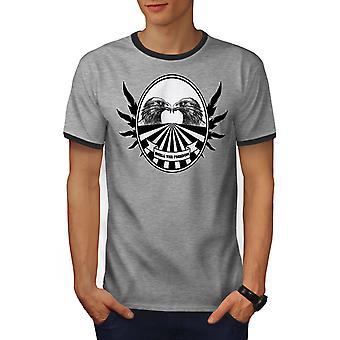 Vrijheid vogel citeer mannen Heather Grey / Heather donkere T-shirt van de GreyRinger | Wellcoda