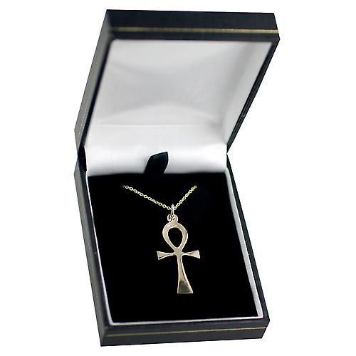 9ct Gold 33x17mm plain solid Ankh or Peace Cross with a cable Chain 16 inches Only Suitable for Children